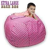 Stuffed Animal Storage Bean Bag Chair 38'' Extra Large Premium Cotton Canvas By SAKIBO (Light Red,White)
