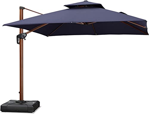 PURPLE LEAF 10 Feet Double Top Deluxe Sunbrella Wood Pattern Square Patio Umbrella Offset Hanging Umbrella Cantilever Umbrella Outdoor Market Umbrella Garden Umbrella, Navy Blue
