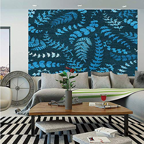 SoSung Indigo Wall Mural,Dark Green Backdrop Floral Swirl Leaves Branches Details Image,Self-Adhesive Large Wallpaper for Home Decor 83x120 inches,Turquoise Light Blue and White