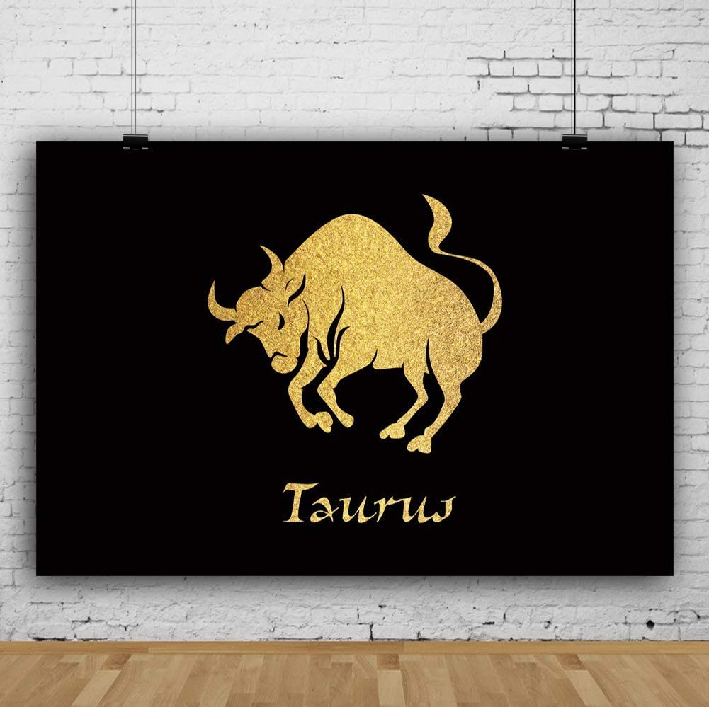 8x6.5ft Horoscope Photography Taurus Backdrop Astrology Golden Gilded Pattern Black Background Twelve Constellations Signs Birthday Ascendant Astrological Predict Photo Props