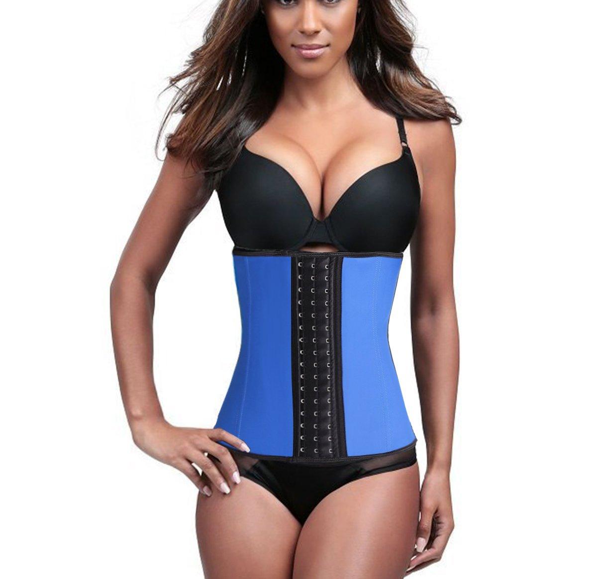 Women's Underbust Latex Girdle Waist Training Corset Hourglass Body Shaper Blue XL