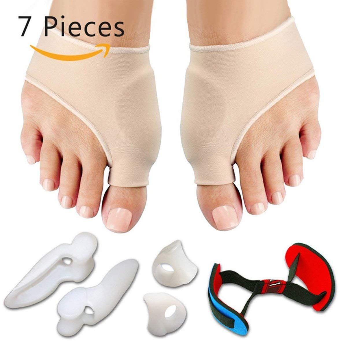 Tivolii Hallux Valgus Corrector Alignment Bunion Protector 7PCS/SET Bunion Sleeves Toe Separator Metatarsal Splint Orthotics Pain Relief Foot Care Tool