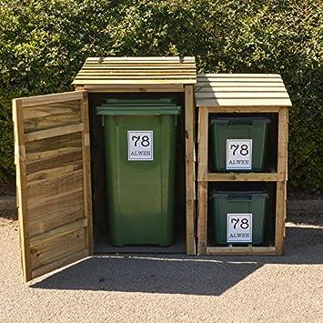 Signs & #Numbers - Cubo de basura con ruedas y 2 compartimentos para reciclaje,