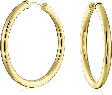 HOOP EARRINGS 10KT GOLD FLAT TUBE TEXTURED HOOP EAR