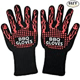 YIYUANLIN BBQ Gloves Oven Baking & Cooking Gloves EXTRA Length Forearm Protection Extreme 932℉ Heat Resistant Cooking Grilling Silicone Gloves for Fireplace, Camping, Barbecue, Baking (1 Pair) For Sale