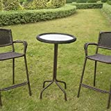 International Caravan Resin Wicker Bar-Height Outdoor Bistro Table Mocha