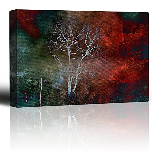 Wall26 - Lone Tree Over a Red and Teal Watercolor Paint - Canvas Art Home Decor - 24x36 inches (Teal And Red)