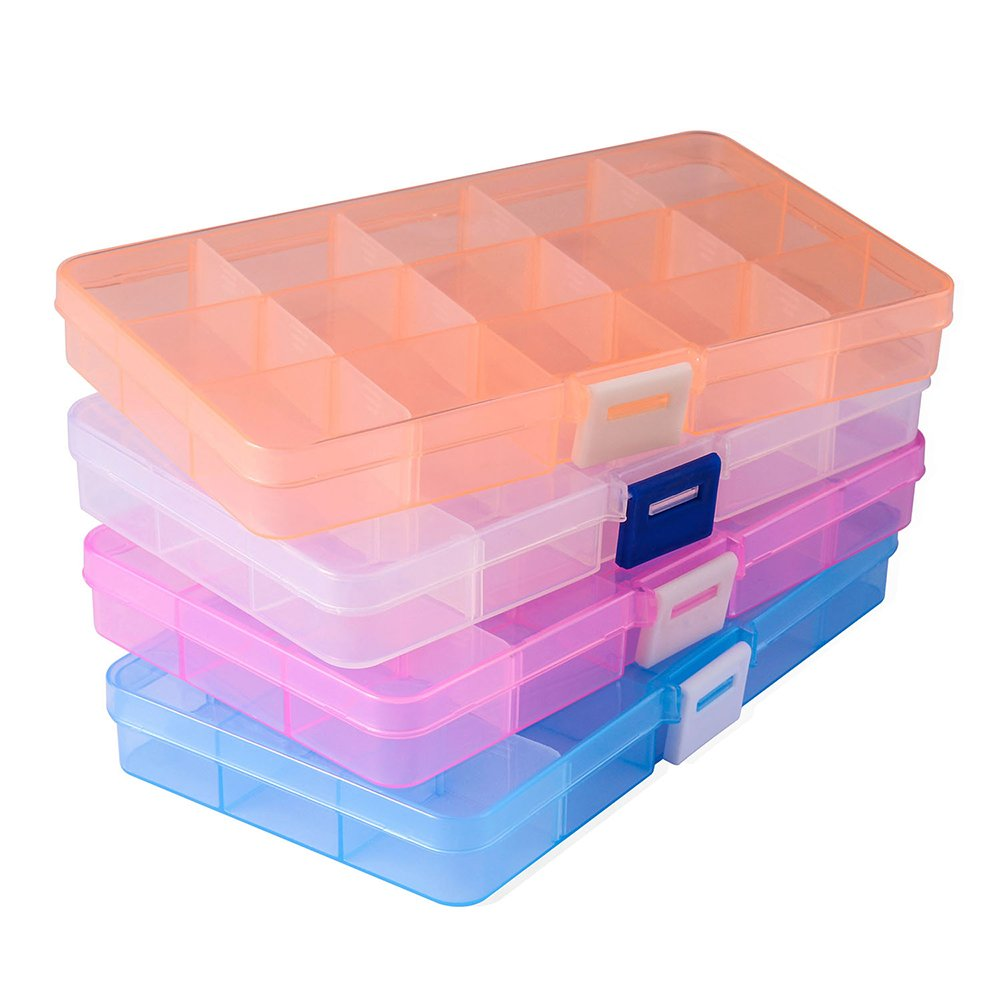 4 Pack 15 grids with Movable Dividers Earring Storage Containers Plastic Jewelry Box Opret Jewelry Organizer