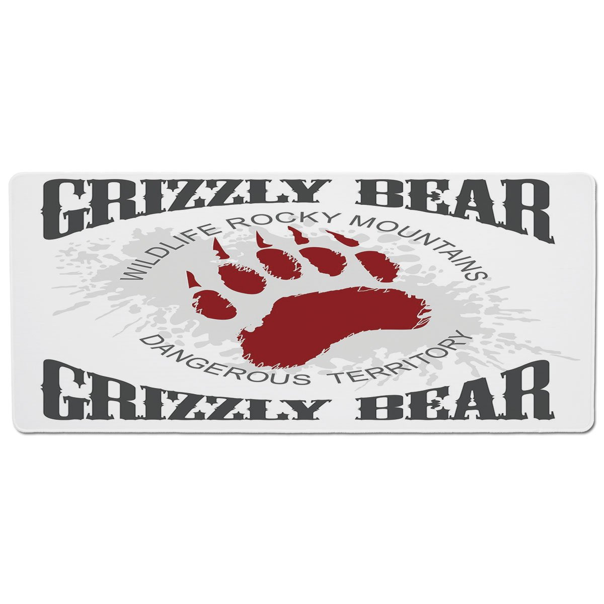 35.4\ Pet Mat for Food and Water,Cabin Decor,Grunge Grizzly Bear Footprint Emblem Dangerous Wildlife Rocky Mountains Decorative,Grey Red White,Rectangle Non-Slip Rubber Mat for Dogs and Cats