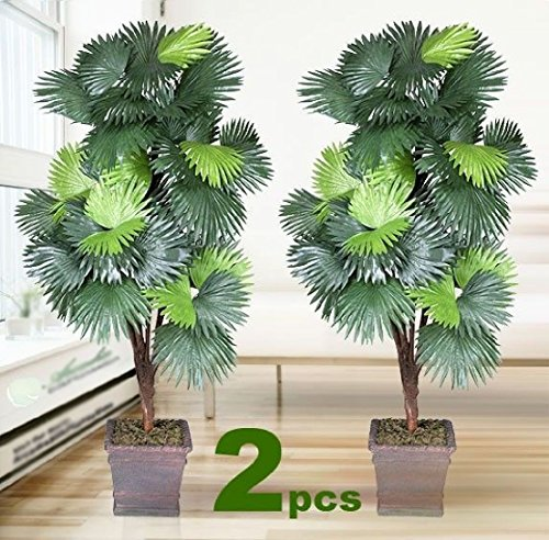 TWO 6' Fan Palm x5 Artificial Tree Silk Plant NEW with No Pot by Black Decor Home