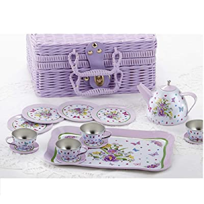 Delton Children's Tin Tea Set in Basket, 15 Pcs, Pansy: Toys & Games