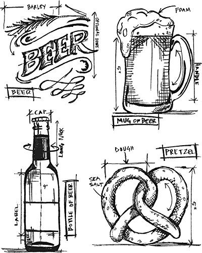 Stamper's Anonymous Tim Holtz Cling Stamps, Beer Blueprint