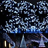 Ucharge Solar Christmas Lights White Lights 72ft 200 LED Waterproof Solar Light String Outdoor for Gardens, Homes, Wedding, Party, Christmas tree, Curtains, Outdoor Christmas Decoration