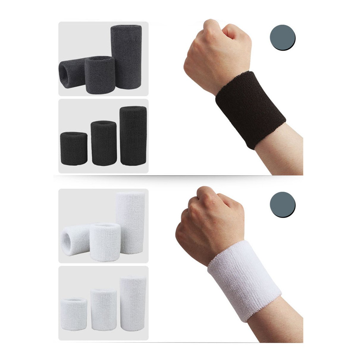 Nero ULTNICE Sport Sweatband Braccialetti Athletic Cotton Terry Cloth Soft Bracers 1 paio