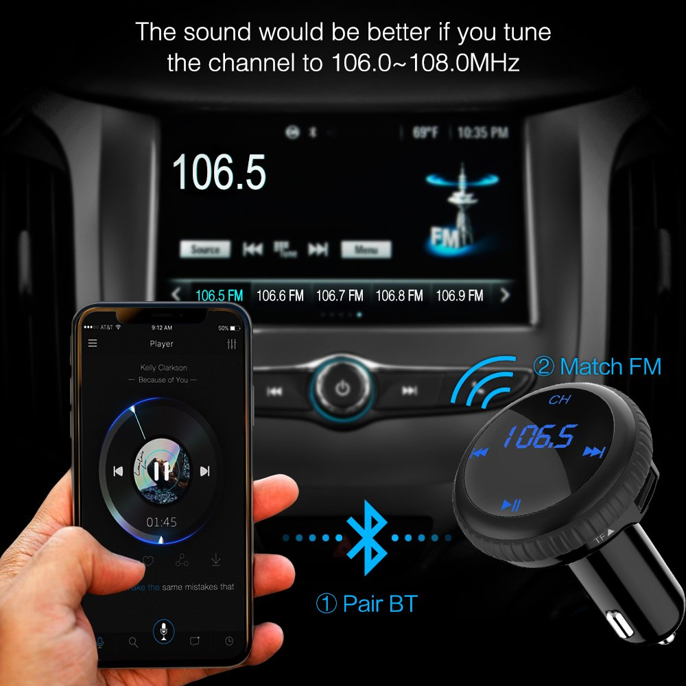 (Upgrade) Bluetooth FM Transmitter With Smart Locator,BliGli Car Charger Car Kit With 3.4A USB Charging Ports,Built-in Mic,Supports Hands-Free Call, Last Call Redial,32G TF Card/U-disk Music Playback