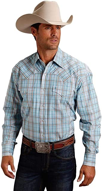 Roper Mens Amarillo Collections Long Sleeve Button Shirt-Route 66