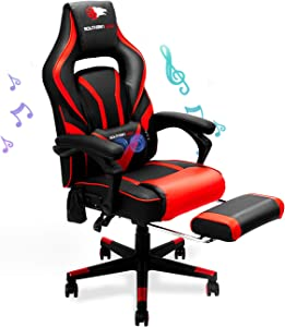 SOUTHERN WOLF Video Gaming Chair with Massage Function - Bluetooth Office Swivel Chair with Racing Style - Ergonomic Home Office Chair with Armrest Footrest Headrest and Lumbar Support