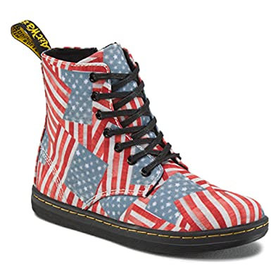 Dr. Martens Boy's Marley Lace Boot Red/White/Blue Mini Stars and Stripes