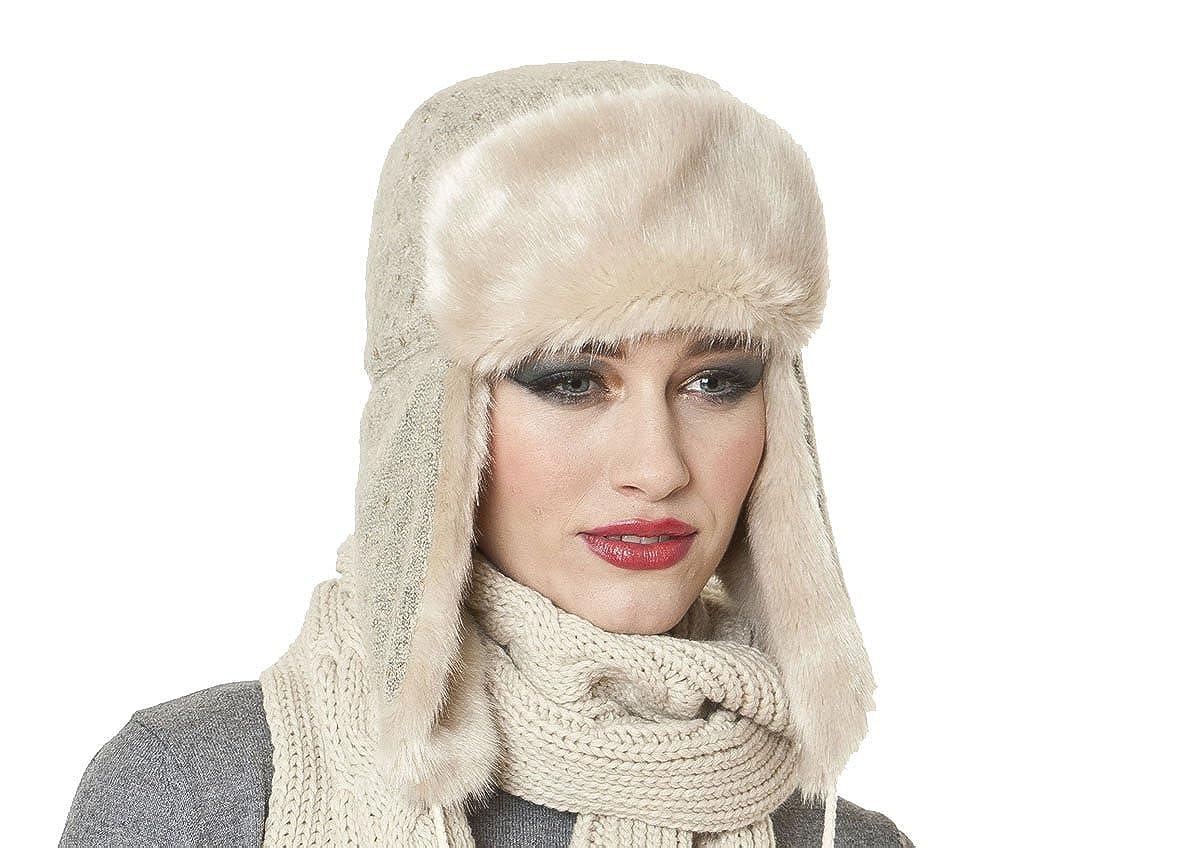 bf6dc01accf4da Socks Uwear Womens Faux Fur Trim Trapper Warm Winter Thermal Hat Kate  Oatmeal: Amazon.co.uk: Clothing