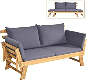 Tangkula Acacia Wood Patio Convertible Couch Sofa Bed with Adjustable Armrest, Outdoor Daybed with Cushion & Pillow, Folding Chaise Lounge Bench Ideal for Porch Courtyard Poolside (Dark Grey)