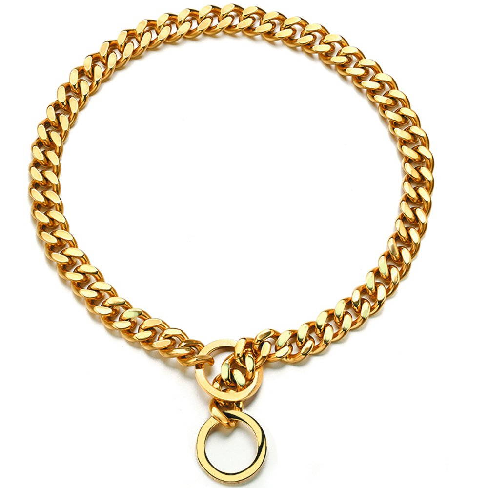 Abaxaca 18K Gold Big Dog Collar Large Stianless Steel Durable 15mm Wide Gold Necklace Choke Chain Training Collar Cuban Link for Dog Small 12 inch to 24 inch(20 inch, Gold)