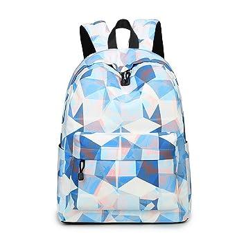 04858e3f4 Acmebon Mochila Escolar de Ocio Ligera y Moderna - Cartera Escolar para  Niñas y Niños con Lindo Estampado Azul y Blanco 626  Amazon.es  Equipaje