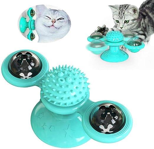 YB Juguetes para Gatos,Windmill Cat Toy, Cepillo de Pelo para Gatos rascadores y cosquillas, Juguete Interactivo de burlas giratorias para Gatos, Ventosa Molino de Viento Accesorios para Mascotas: Amazon.es: Productos para mascotas