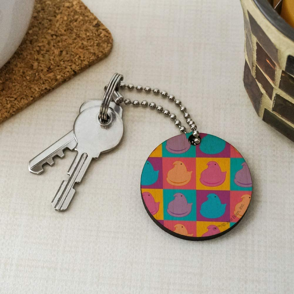 Peeps in Squares in Four Colors Wood Wooden Round Keychain Key Chain Ring