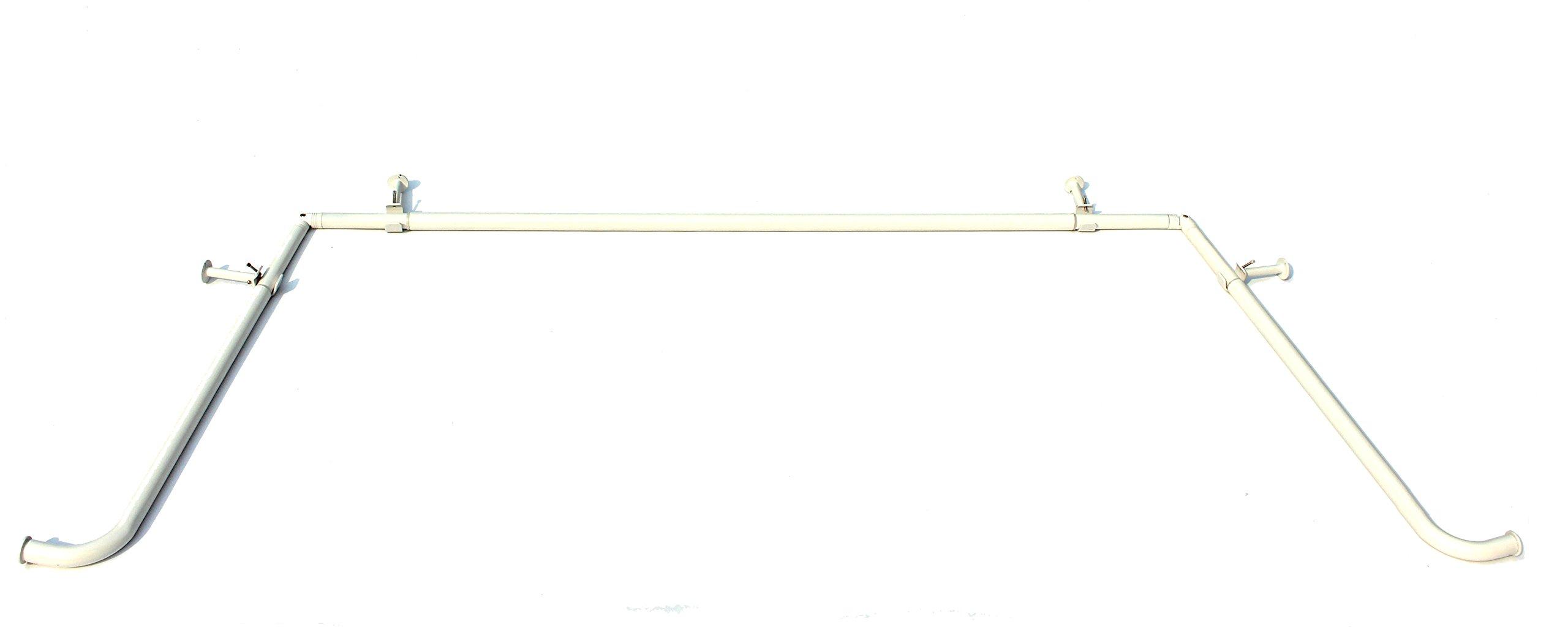 Urbanest Glossy White Bay Window Curtain Rod Set, 1-inch