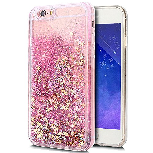 Price comparison product image Rejected all traditions 3D Liquid Bling Quicksand Glitter Star Love Dynamic Flowing Soft TPU Case Cover For iPhone 6 6s 4.7inch (Pink Gold Star)