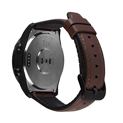 Pinhen Huawei Watch GT, 22MM W2 Pro Soft Silicone Band Replacement Sport Band Adjustable Bracelet Strap for Huawei Watch GT (TPE Brown)