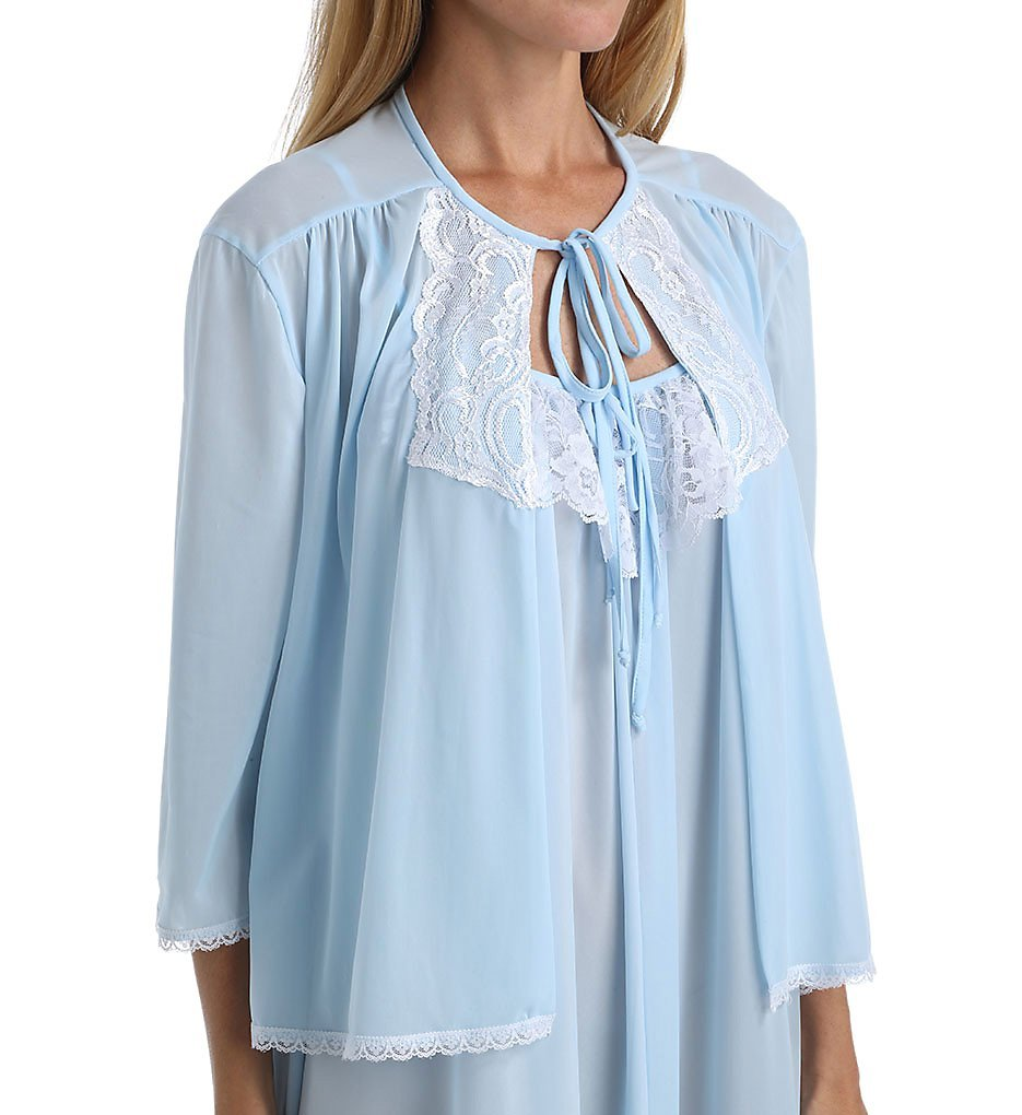 Amanda Rich Tricot Bed Jacket With Lace (AR152) L/Light Blue by Amanda Rich