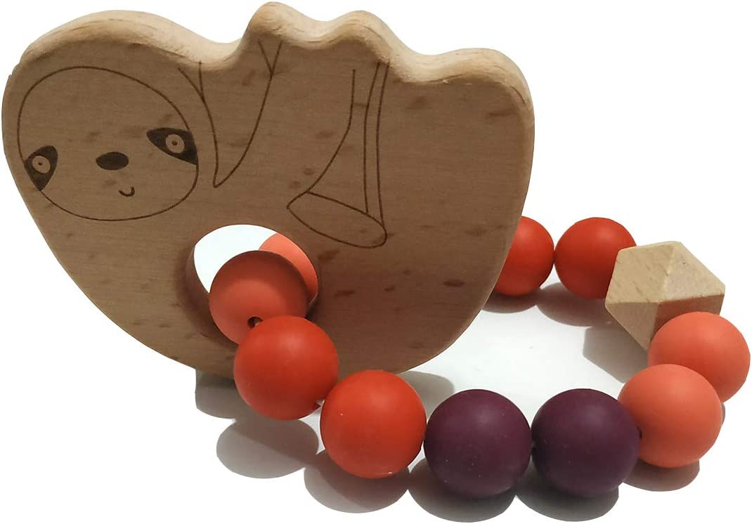 Alenybeby Silicone Beads Teether Bracelet Wood Teething Bracelet Beech Wooden Sloth Teether Toddler Nursing Stroller Accessories Sloth