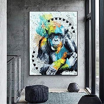 hetingyue Graffiti Monkey Gorilla Animal Imagen Lienzo Pintura Arte de la Pared Decorar Carteles e Imprimir Pinturas sin Marco para la Moderna Sala de Estar 60X75CM