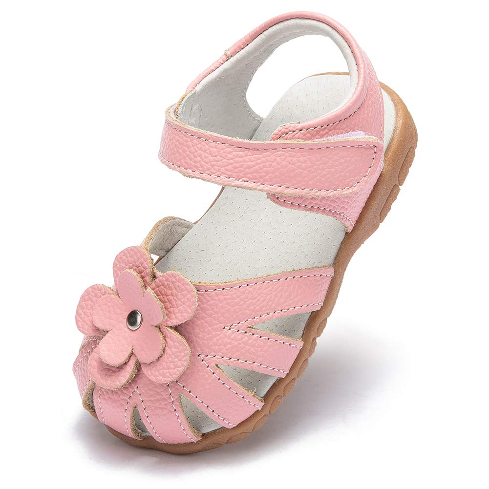 HOBIBEAR Baby Girls Summer Flower Closed-Toe Sandals First Walkers Non-Slip Outdoor Toddler Shoes