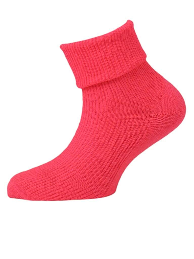 3 Pairs of Girls Neon Ankle Socks with Turndown Tops - UK Made