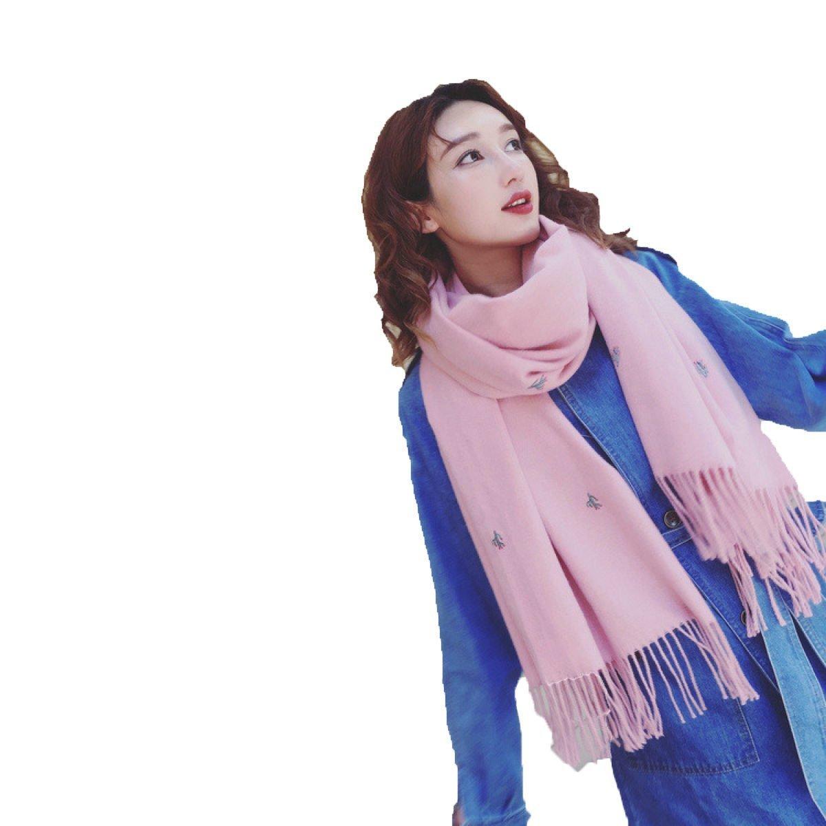 DIDIDD Bufandas de color sólido bordado chal doble uso caliente mujer,Rosado,205 * 69cm