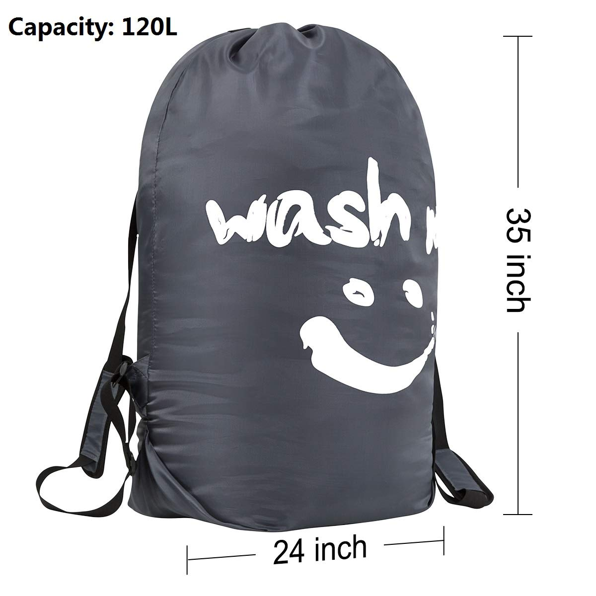 WOWLIVE Extra Large Laundry Bag Heavy Duty Durable Laundry Backpack with Strong Adjustable Shoulder Straps Drawstring Closure for College Dorm Camp Travel(35\