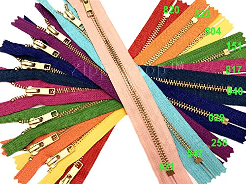 Zipperstop - Metal Zippers YKK #5 Brass Auto Lock Zipper Medium Weight Closed Bottom Available in 7 Inch or 9 Inch Made in USA (9 Inch 10pcs, 10 Colors Mixed) ()