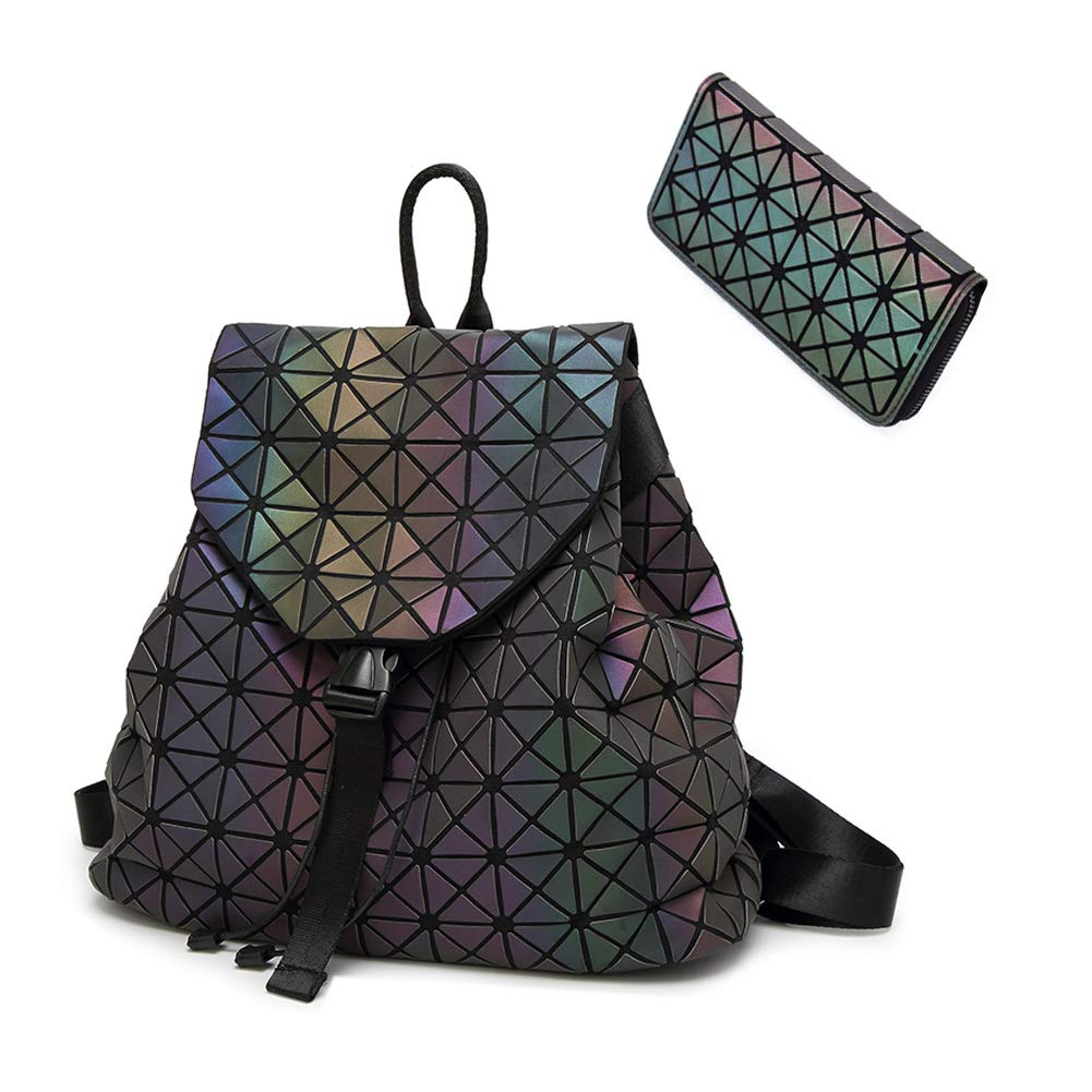 HotOne Geometric Backpack Holographic Reflective Backpacks Fashion Backpack (NO.1 + Zipper Wallet)