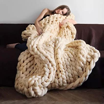Manta de ganchillo gruesa para sofá, lana de cachemira ...