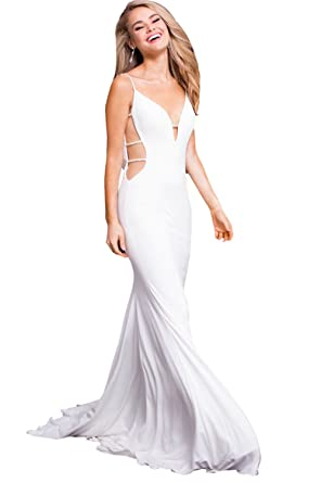 04da26a451 Jovani Prom 2018 Dress Evening Gown Authentic 57295 Long Off White at  Amazon Women s Clothing store