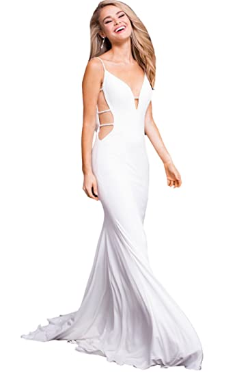 Jovani Prom 2018 Dress Evening Gown Authentic 57295 Long Off White