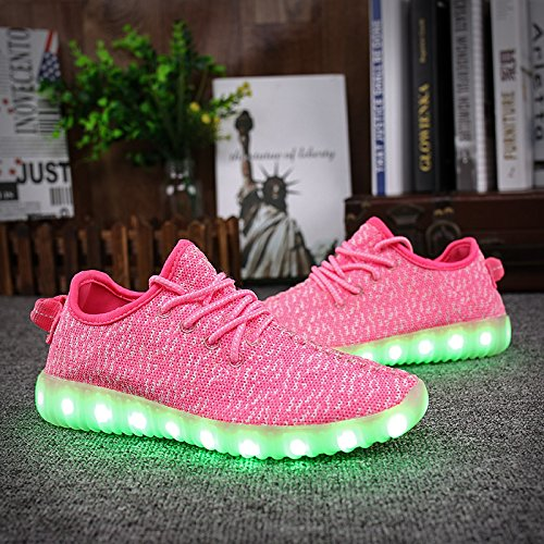 Shinmax 7 Rose Chaussure Charge Homme LED Couleur Clignotants CE Femme Certificat LED Sports ChaussuresLED Fille USB Unisexe pour Garçon Chaussure Lumineuse avec Chaussures Basket r84nWrFgx