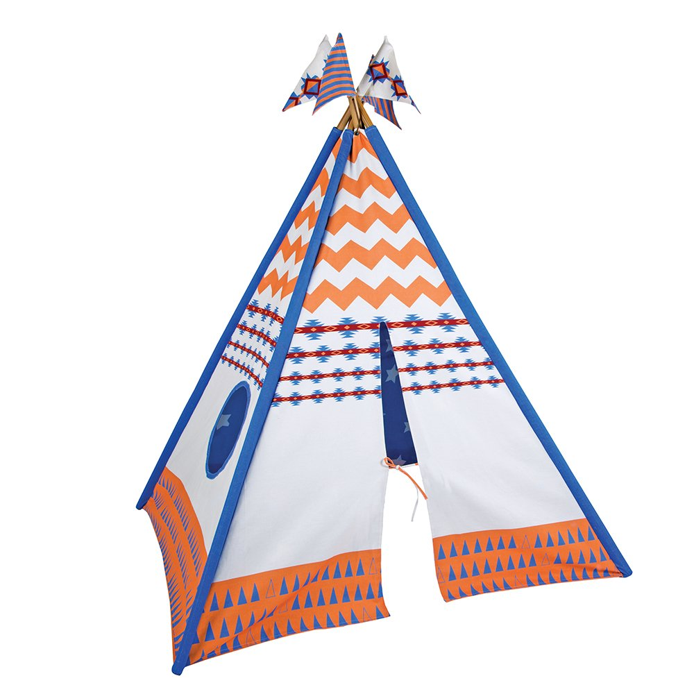 Pacific Play Tents Kids Vintage Cotton Canvas Teepee Playhouse Tent w/ bamboo poles - 45'' x 45'' x 64''