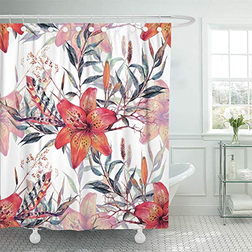 Emvency Shower Curtain Set Waterproof Adjustable Polyester Fabric Watercolor Floral Bouquet of Tiger Lilies Feathers and Green Leaves Botanical 72 x 78 Inches Set with Hooks for Bathroom (Drapes Tiger Lily)