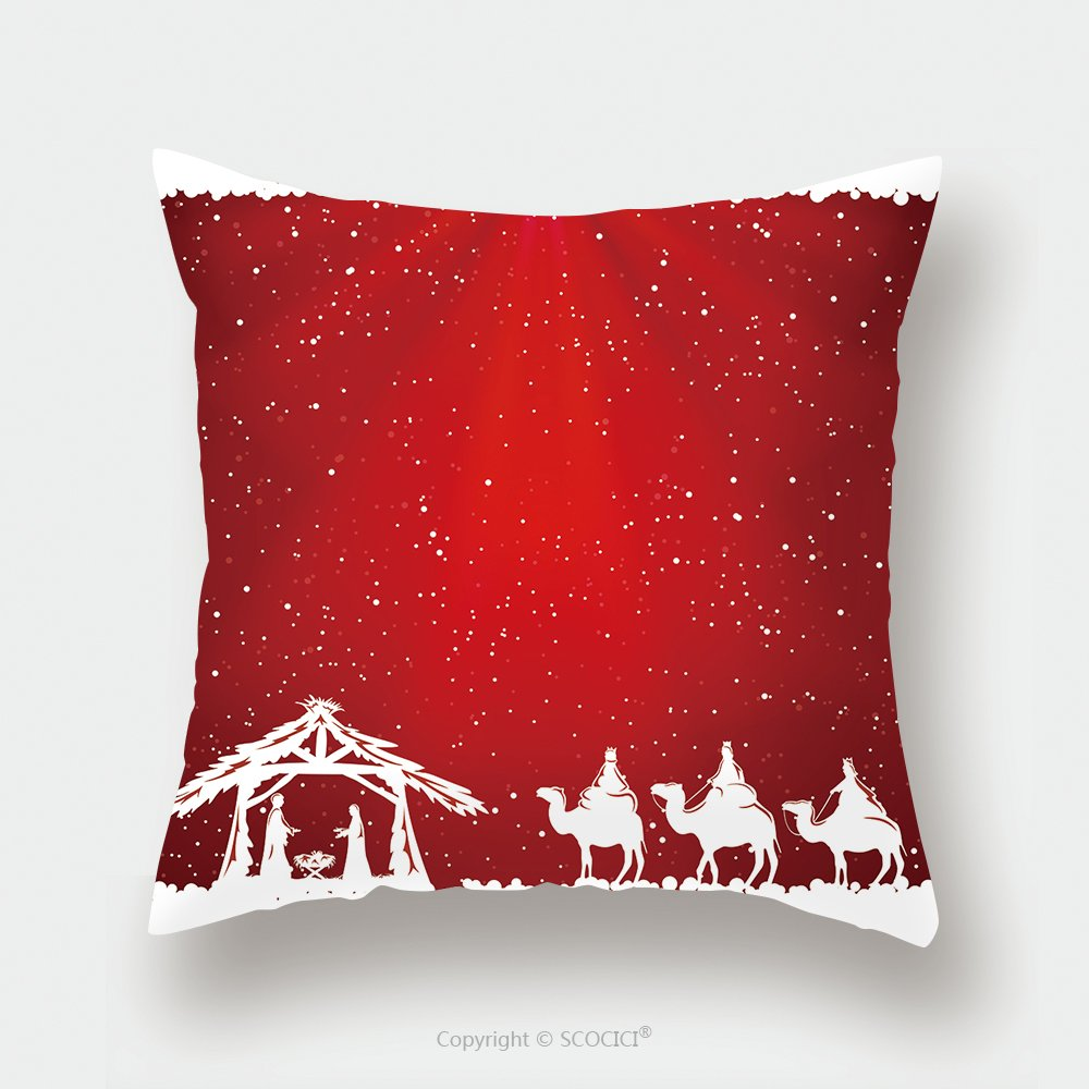 Custom Satin Pillowcase Protector Christian Christmas Scene On Red Background Illustration 324278123 Pillow Case Covers Decorative