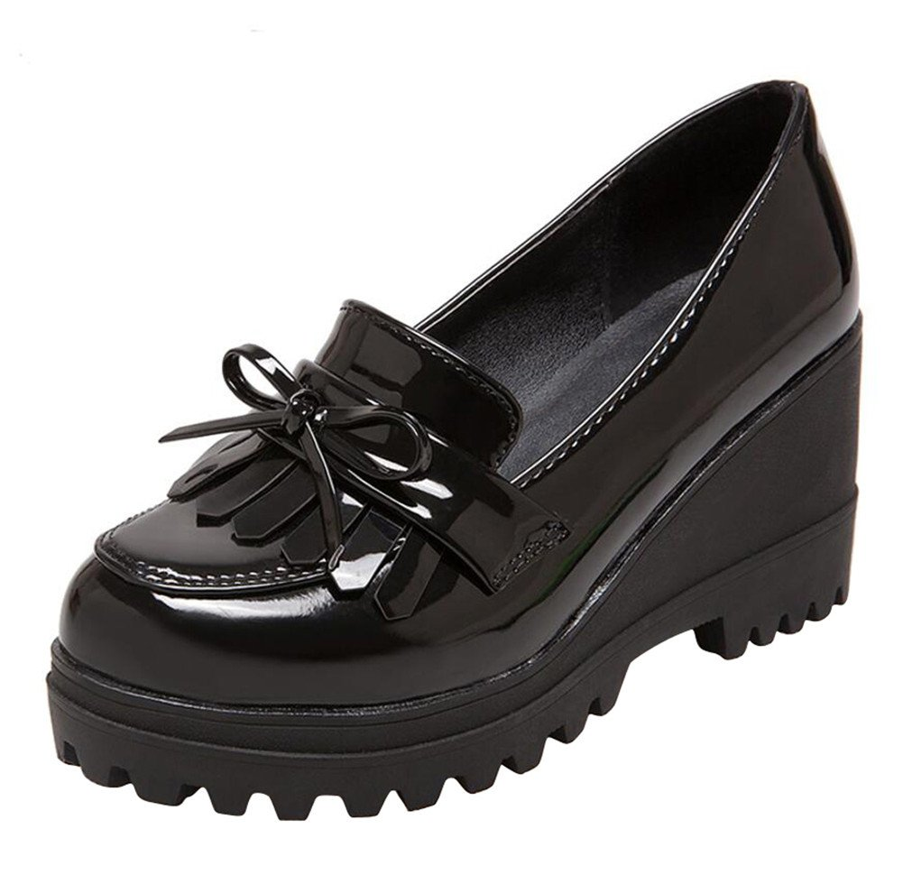 Wedge Oxfords Shoes Women, Girls Tassels Lolita Cosplay Japanese School Uniform Dress Shoes Heel Platform Loafers Black,8.5