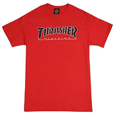 16e8e62433a3 Image Unavailable. Image not available for. Color: Thrasher Magazine  Outlined Skate Mag Logo Men's Short Sleeve Skateboard T-Shirt ...