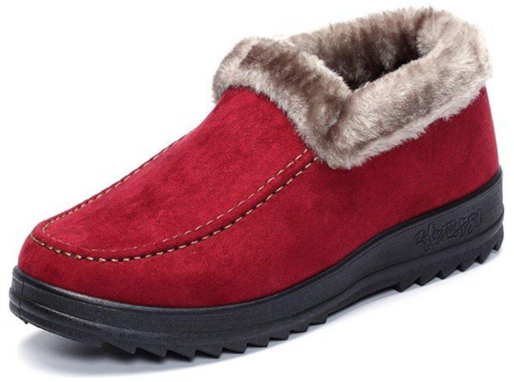 Labato Style Women's Winter Short Snow Boots Warm Slip-on Walking Shoes Fur Lined Footwear …